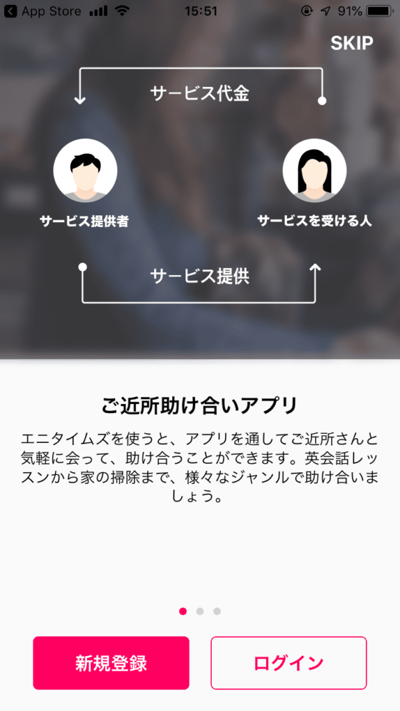 ANYTIMES(エニタイムズ)アプリから新規登録